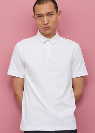 Натуральная белая футболка поло хлопок с воротником рукавами с...