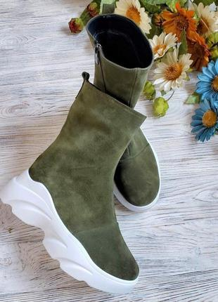 ❗последний размер 39!!! ботинки замшевые зимние хаки набивная ...
