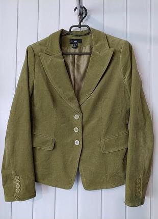 Стильный вельветовый приталенный  пиджак