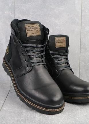Мужские ботинки кожаные зимние черные belvas 18125/01