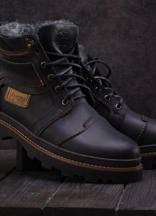 Мужские ботинки кожаные зимние черные riccone 315