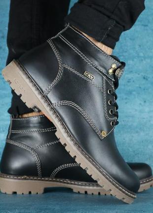 Мужские ботинки кожаные зимние черные pav 9665