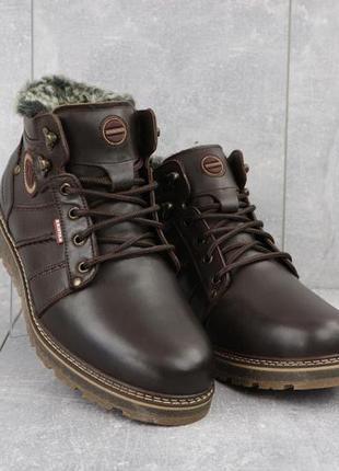 Мужские ботинки кожаные зимние коричневые kristan 703к