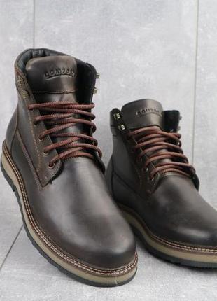 Мужские ботинки кожаные зимние коричневые riccone 550