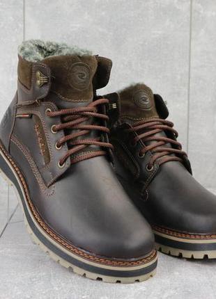 Мужские ботинки кожаные зимние коричневые riccone 222