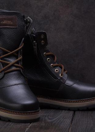 Мужские ботинки кожаные зимние черные zangak 136