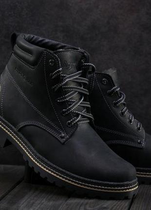 Мужские ботинки кожаные зимние черные accord бот