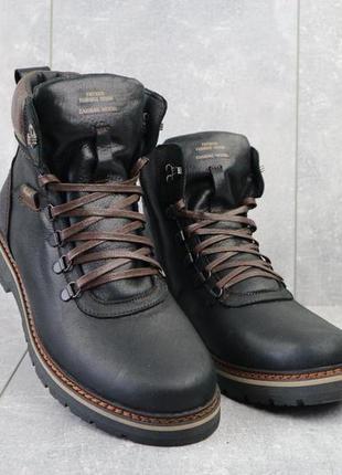 Мужские ботинки кожаные зимние черные zangak 139 ч-крек