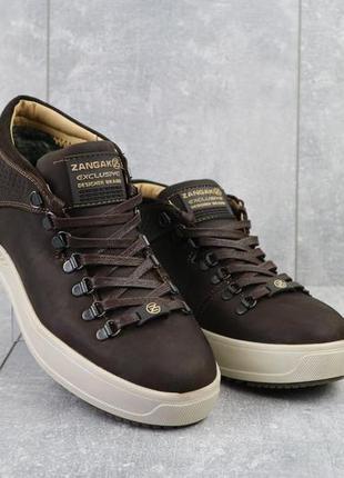 Мужские ботинки кожаные зимние коричневые zangak 903 кор-кр+беж
