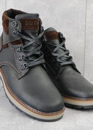 Мужские ботинки кожаные зимние черные-матовые yuves 779