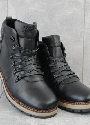 Мужские ботинки кожаные зимние черные yuves 776