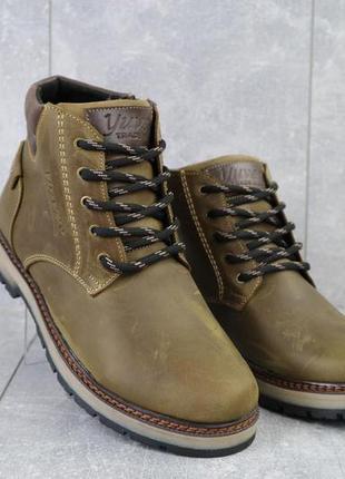 Мужские ботинки кожаные зимние оливковые yuves 775