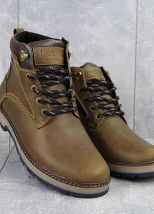 Мужские ботинки кожаные зимние оливковые yuves 774