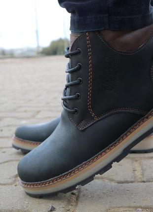 Мужские ботинки кожаные зимние черные-матовые yuves 775