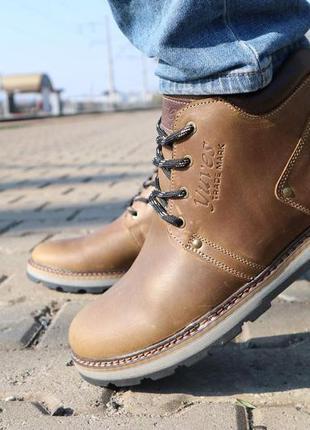 Мужские ботинки кожаные зимние оливковые yuves 781