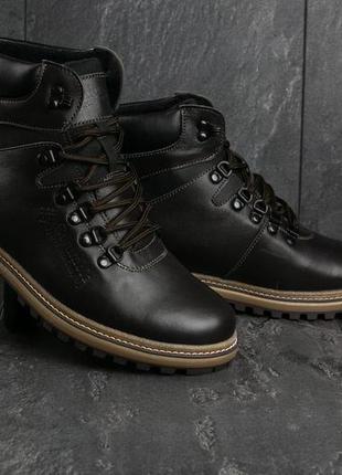 Мужские ботинки кожаные зимние коричневые yuves 700