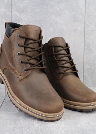 Мужские ботинки кожаные зимние коричневые-матовые yuves 444