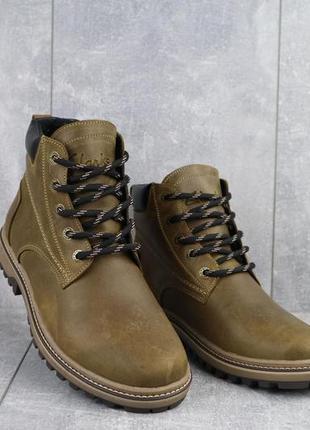 Мужские ботинки кожаные зимние оливковые yuves 444