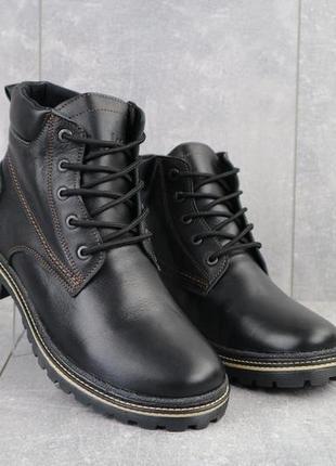 Мужские ботинки кожаные зимние черные yuves 444