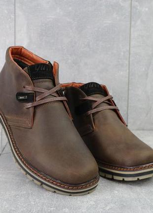 Мужские ботинки кожаные зимние коричневые-матовые yuves 771 kor