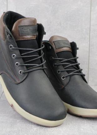 Мужские ботинки кожаные зимние черные-матовые yuves 772 chernmat