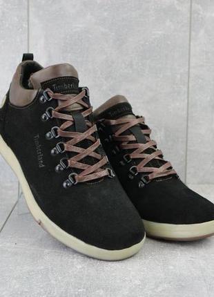 Мужские ботинки замшевые зимние черные yuves 773