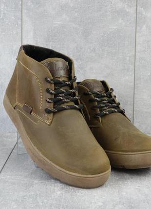 Мужские ботинки кожаные зимние оливковые yuves 777