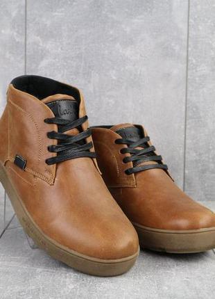 Мужские ботинки кожаные зимние рыжие yuves 777