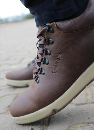 Мужские ботинки кожаные зимние коричневые-матовые yuves 773
