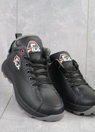 Мужские ботинки кожаные зимние черные lions f3