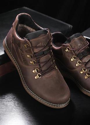 Мужские ботинки кожаные зимние коричневые-матовые yuves 600