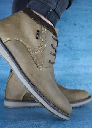 Мужские ботинки кожаные зимние оливковые yuves 333