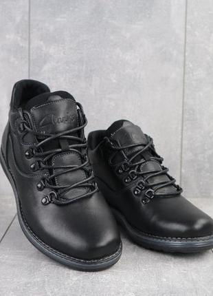 Мужские ботинки кожаные зимние черные yuves 600