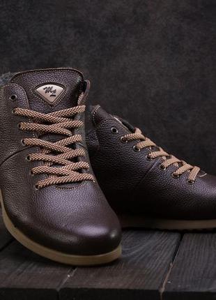Мужские ботинки кожаные зимние коричневые milord olimp