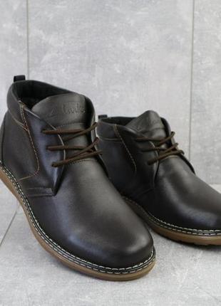 Мужские ботинки кожаные зимние коричневые yuves 801