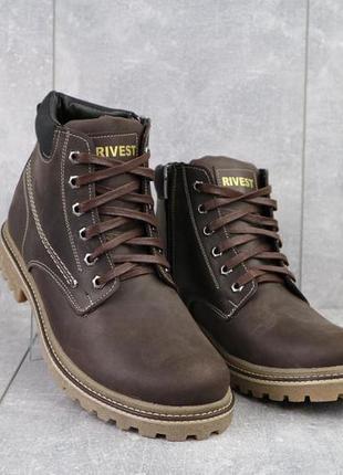 Мужские ботинки кожаные зимние коричневые rivest rк