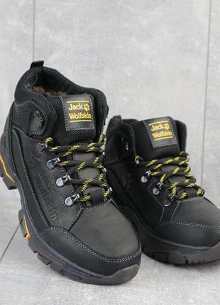 Мужские ботинки кожаные зимние черные and 132 -1 jack wolf