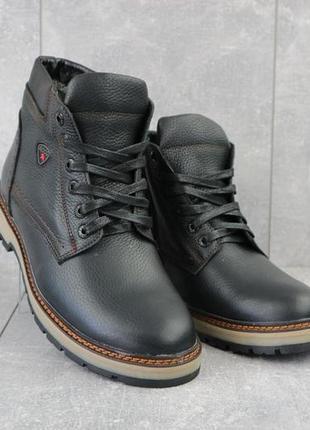 Мужские ботинки кожаные зимние черные brand б-27