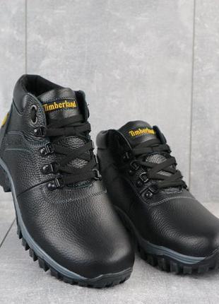 Мужские ботинки кожаные зимние черные yuves 802