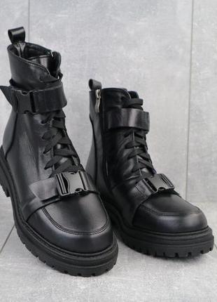 Женские ботинки кожаные зимние черные mkrafvt c249