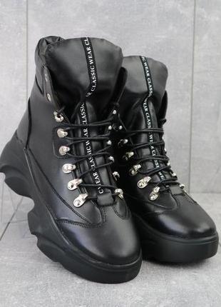 Женские ботинки кожаные зимние черные viktoria 003