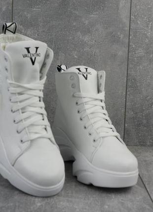 Женские ботинки кожаные зимние белые best vak бж 45/4-06