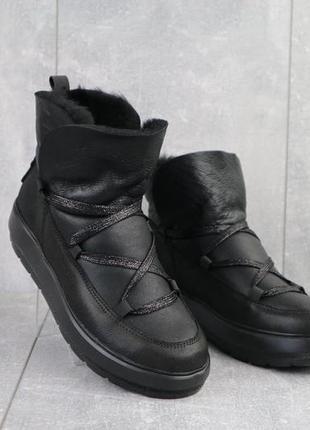 Женские ботинки кожаные зимние черные benz 70202