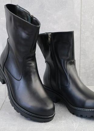 Женские ботинки кожаные зимние черные dali 23k