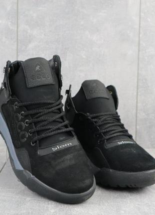 Мужские кроссовки кожаные зимние черные-нубук crossav 318
