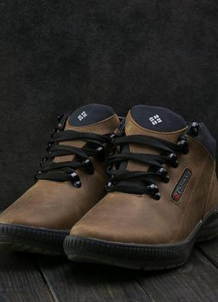 Мужские кроссовки кожаные зимние оливковые crossav 92