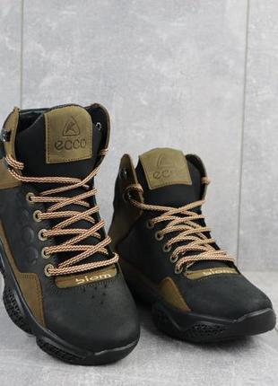 Подростковые кроссовки кожаные зимние черные-оливковые crossav...