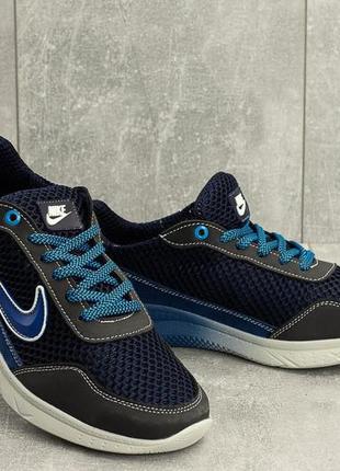 Мужские кроссовки текстильные летние синие-голубые crossav 22