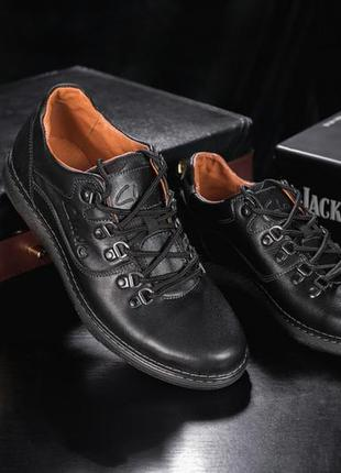 Мужские повседневная обувь кожаные весна/осень черные yuves 650