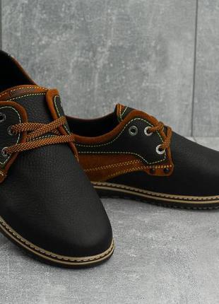 Мужские повседневная обувь кожаные весна/осень черные-рыжие cr...